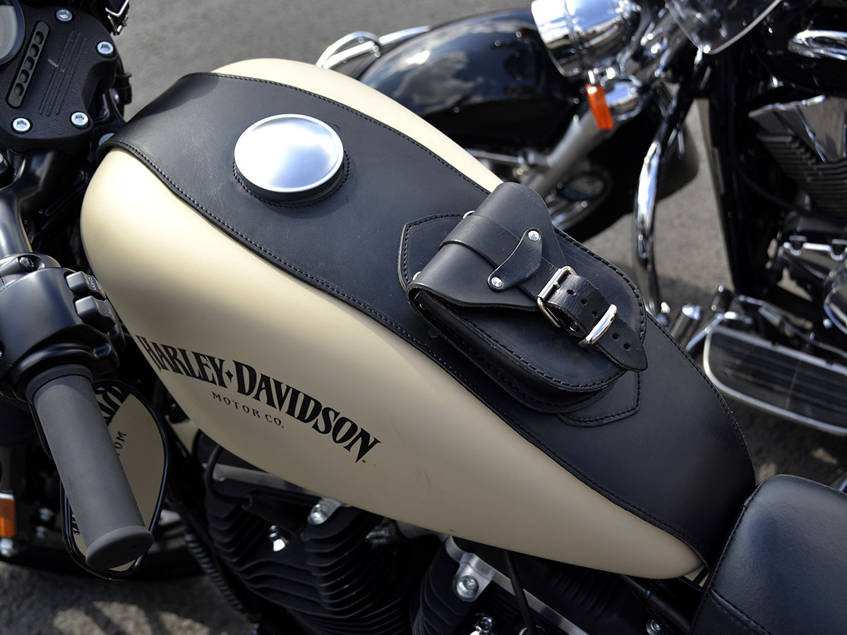 Black Leather Iron Tank Cover Panel Bag For Harley Sportster Bag XL 883 1200